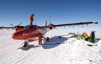 Refuelling at Theils Depot, S85º, Antarctica