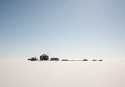 Sledge 'Tango' tractor train moving site, Filcher Ice Shelf, Antarctica