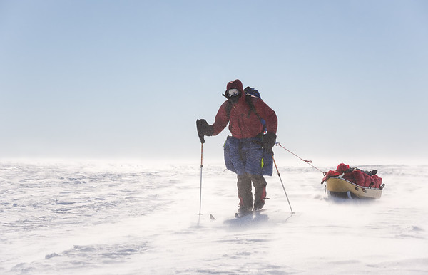 Carl Alvey leaving Theils on the way to the South Pole, Antarctica