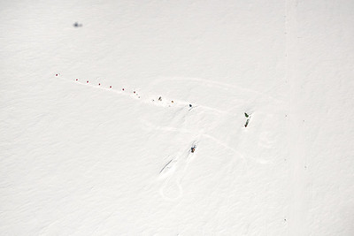 Aerial view of camp at Theils Depot, 85º, Antarctica