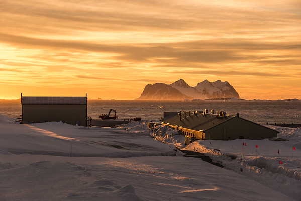 Rothera station at sunset, Adelaide Island, Antarctica