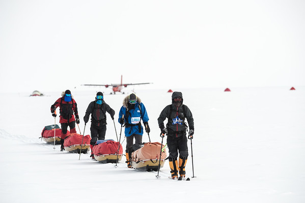 Devon McDiarmid and team leaving Theils on the way to South Pole, Antarctica