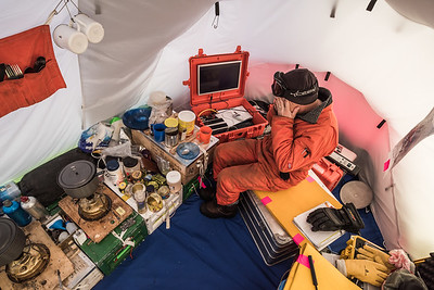 Ian Potten dismayed by weather info, Theils Depot, S85º, Antarctica