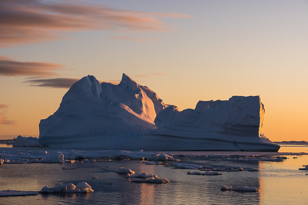 Iceberg under the midnight sun, Marguerite Bay, Antarctica