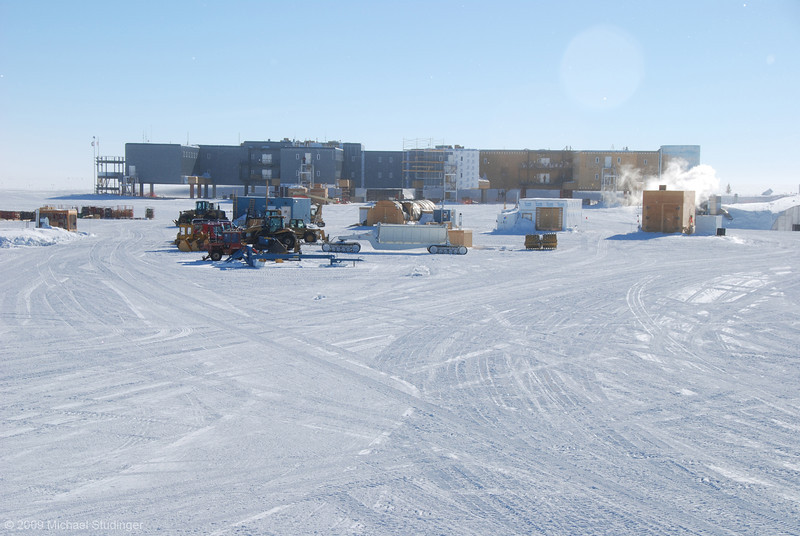 The back side. There is still some construction work going on the outside of the new Amundsen-Scott South Pole Station.