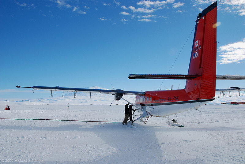 """Fueling at """"Ross Island International Airport"""" (a.k.a. Williams Field) for a flight test of our aerogeophysical system."""