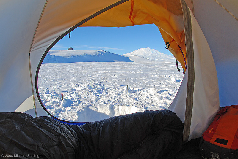 A million dollar view. The view from my tent is quite spectacular. Castle Rock is on the left and Mount Erebus, an active volcano, is in the background. Camping can hardly be any better - if you like cold weather and spectacular mountains.