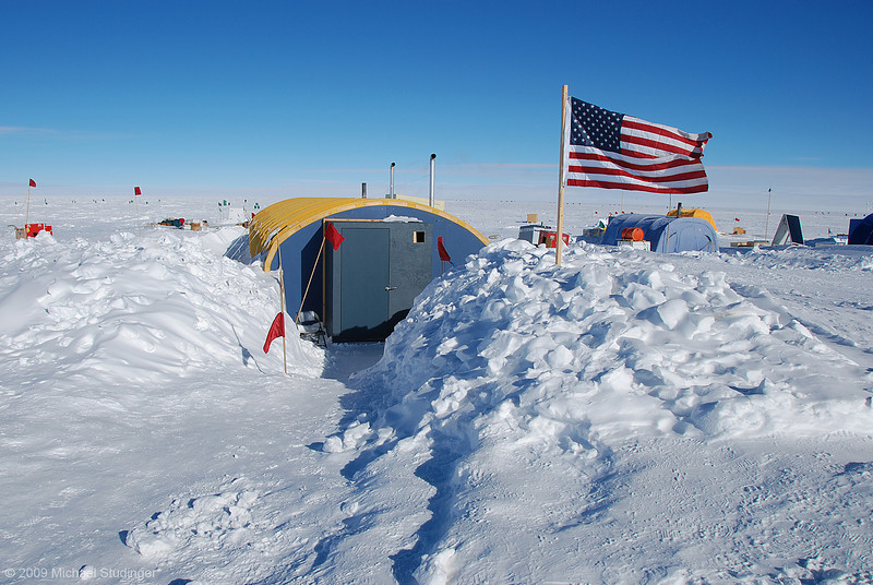 The galley at AGAP South. This is a huge rac tent that has been set up in the previous season. You can see on the sides how much wind blown snow has accumulated within one year.