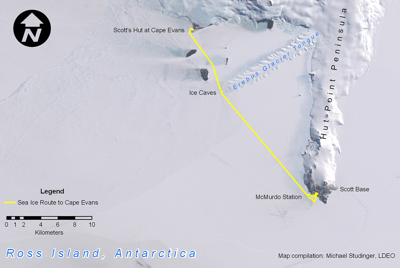 The sea ice route from McMurdo Station to Scott's Hut on Cape Evans. Along the way the ice caves in the snout of the Erebus Glacier Tongue can be visited.