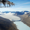 A glacier and ice covered lake in the Dry Valleys of the Transantarctic Mountains.