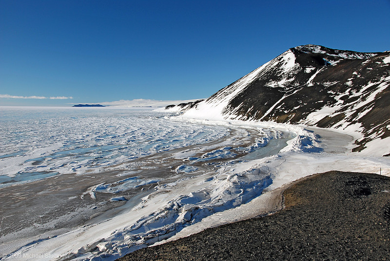 View of the sea ice and McMurdo Sound towards Cape Royds, the location of Captain Scott's Terra Nova hut.