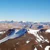 The Dry Valleys in the Transantarctic Mountains are an amazing landscape. Here we are flying towards the edge of the East Antarctic ice sheet (on the right) and you can see the Olympus Range and parts of the Royal Society Range in the back.