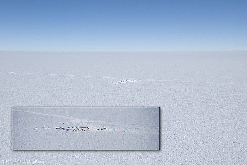Camp AGAP South on the East Antarctic Plateau from the air. Seeing the camp from the air reminds you where you are: in the middle of nowhere.