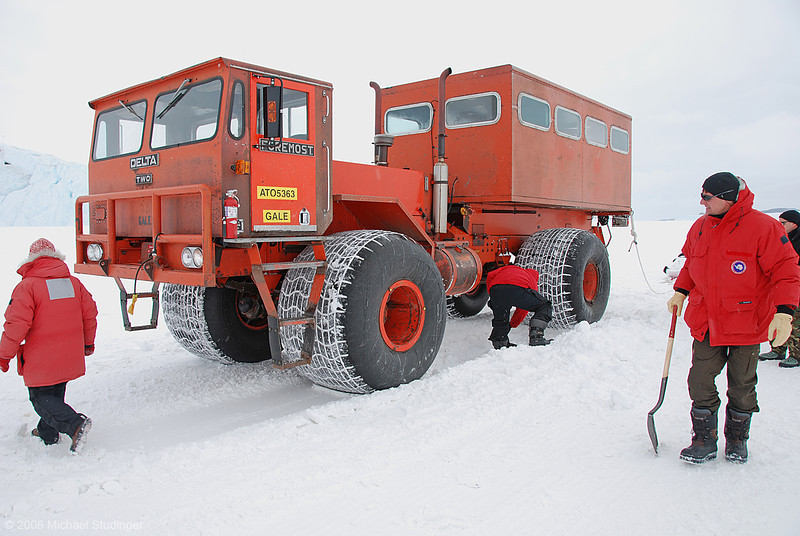 "This is ""Gale"" our DELTA TWO with huge ballon tires that allow you to drive from McMurdo to Cape Evans on the sea ice route. These vehicles have been designed for use by the US Navy during times when suspension was considered a luxury. Nevertheless they get you there and we only got stuck once."