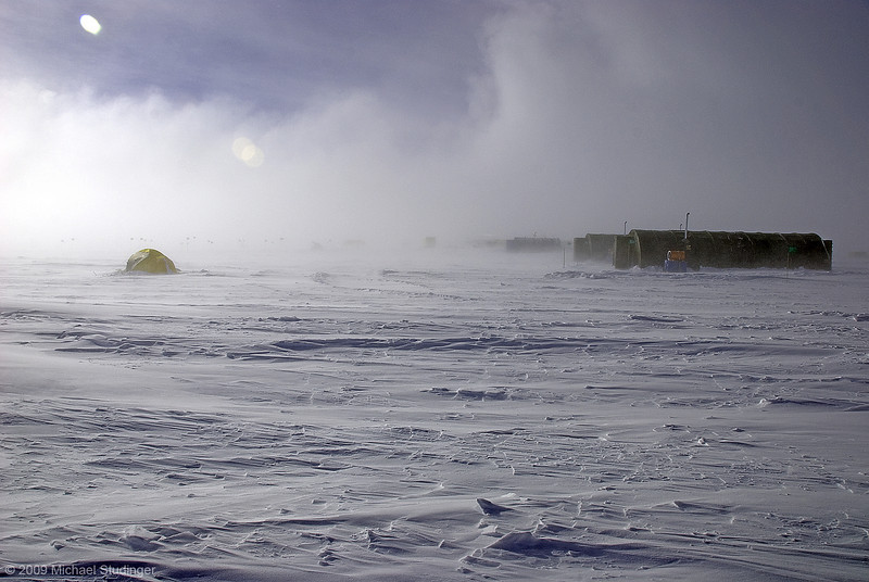 A no fly day at camp AGAP-South. Strong winds and blowing snow can reduce the visibility in no time.