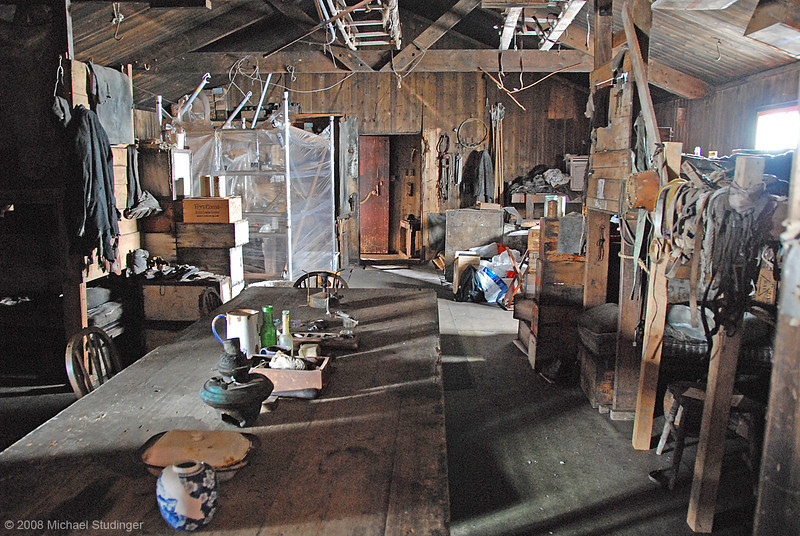Inside Captain Scott's Terra Nova Hut on Cape Evans. The hut was build in 1911 by members of the British Antarctic Expedition (Terra Nova Expedition) and used as base for the trek to South Pole from which Scott and four of his team members never returned. The hut is remarkably well preserved but is currtenly undergoing restoration by the Antarctic Heritage Trust to protect it from further decay. The kitchen area on the left is one of the many areas inside and outside the hut that are being worked on. The hut is part of the 100 most endagered sites on the World Monuments Watch List. A remarkable place to be to say the least.