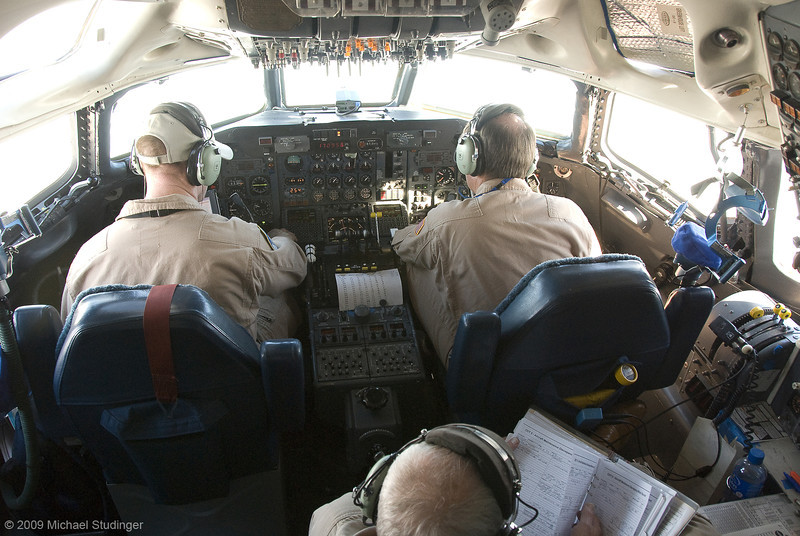 Inside the cockpit of the NASA DC-8 while flying down a glacier on the Antarctic Peninsula.