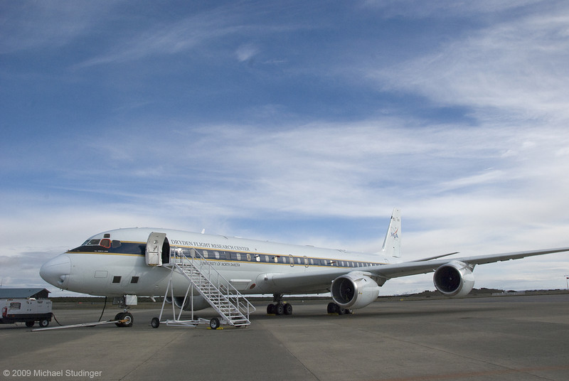 The NASA DC-8 at Punta Arenas Airport in Chile during Operation Ice Bridge 2009.
