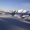 Mountains in evening light along the Antarctic Peninsula.