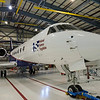 NSF's Gulfstream 5 (G-V) research aircraft in the hangar at NCAR's Research Aviation Facility in Broomfield, Colorado. The G-V carries the Land Vegetation and Ice Sensor (LVIS) during Operation IceBridge.