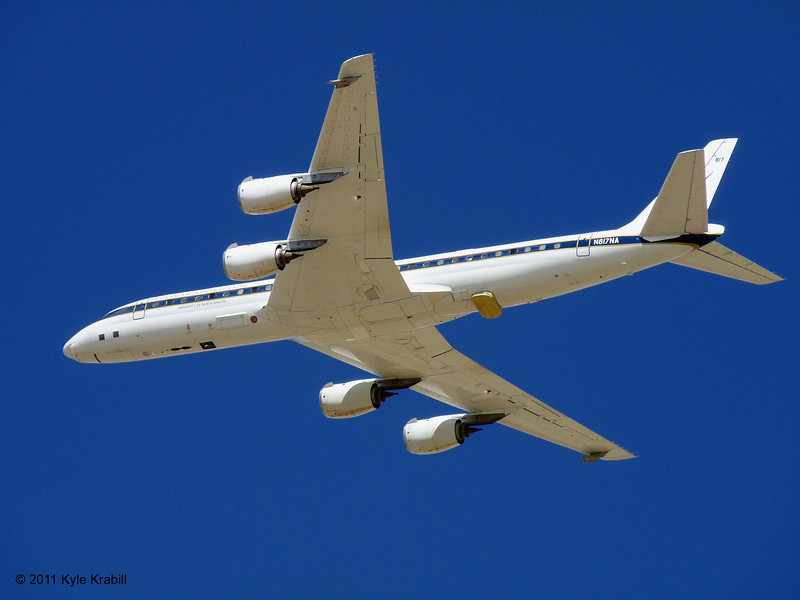 NASA's DC-8 flying laboratory passes over the ramp at the Dryden Aircraft Operations Facility in Palmdale for calibration of the laser and camera systems.