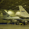 The NASA DC-8 (N817NA) in the hangar at Dryden next to SOPHIA, a converted B-747 that carries an infrared telescope.