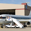 NASA's DC-8 research aircraft is being prepared for an IceBridge test flight over targets in the Mojave desert in California and Nevada outside the hangar at NASA's Dryden Aircraft Operations Facility (DAOF) in Palmdale, California.