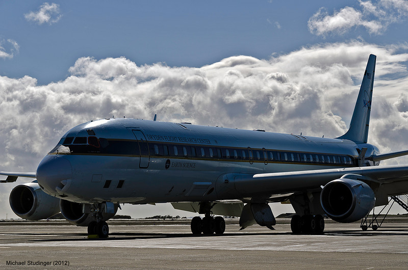 NASA's DC-8 research aircraft on the ramp at Presidente Carlos Ibáñez International Airport in Punta Arenas, Chile.