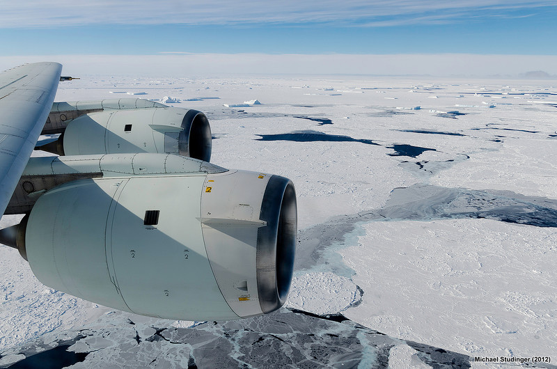 Sea ice in the Bellingshausen Sea, Antarctica, seen from NASA's DC-8 aircraft flying at 1,500 ft above the surface for data collection.