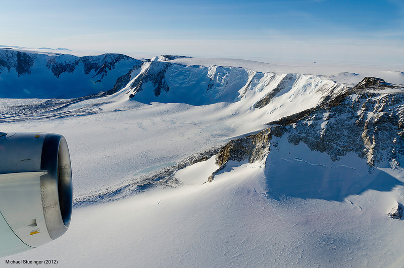Flying over the Shackleton Range, Antarctica, during an aeorgeophysical survey of nearby Recovery Glacier with NASA's DC-8 aircraft.