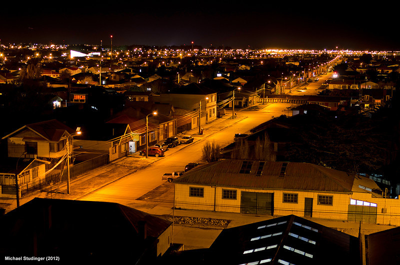 Night view of Punta Arenas in southern Chile, our base of operations for research flights over Antarctica with NASA's DC-8 aircraft.