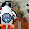 The IceBridge mascot overseeing scientific data collection on a DC-8 mission over Thwaites Glacier, Antarctica.