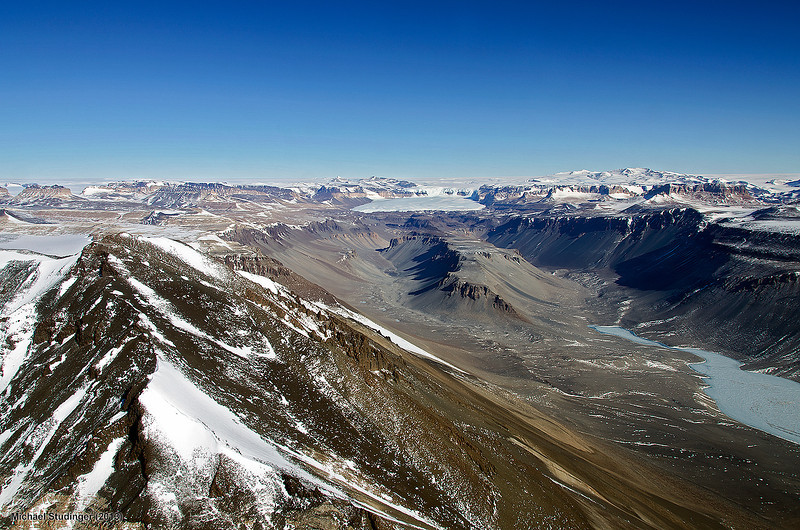 View of the Dry Valleys in the Transantarctic Mountains. Lake Vanda in the Wright Valley with the Labyrinth in the background.