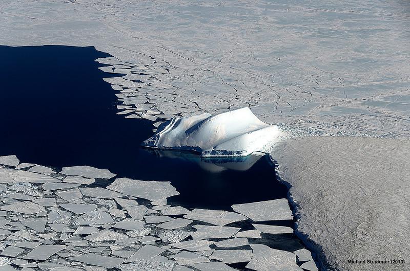 Sea ice and ice bergs in McMurdo Sound, Antarctica.