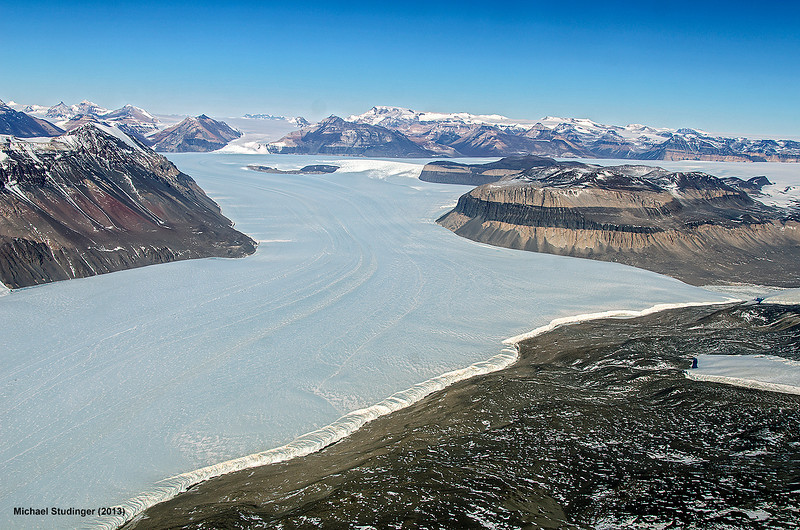 View of Taylor Glacier and Kurki Hills (left) in the Transantarctic Mountains.