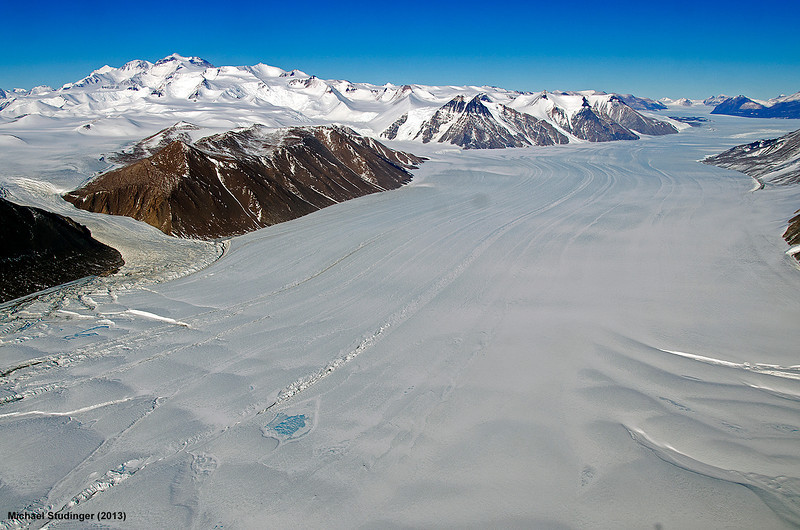 Ferrar Glacier and Royal Society Range in the Transantarctic Mountains. Part of the Kukri Hills can be seen on the right.