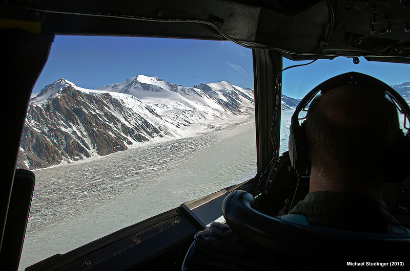 Flying along the centerline of Priestley Glacier in Victoria Land, Antarctica.