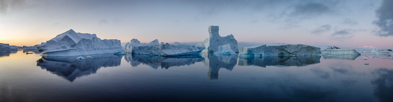 Iceberg panorama as the sun set in the iceberg graveyard - stitched images