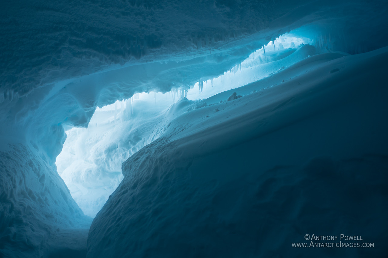 Looking towards the exit from an ice cave inside the Erebus Ice Tongue.
