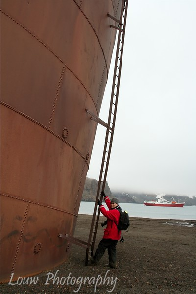 Andrew at Whaler's Bay, Deception Island, Antarctica