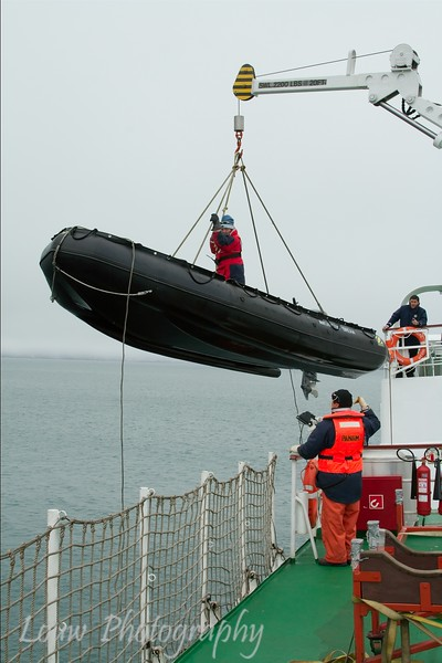 Zodiac boat returning back to Antarctic Dream ship