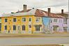 Trompe l'oeil mural on harbor front buildings