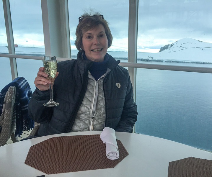 Donna Hull celebrates the first Antarctica excursion on Seabourn Quest.