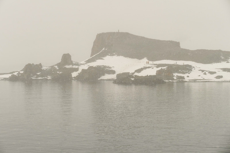 Fog shrouds the view of Half Moon Island