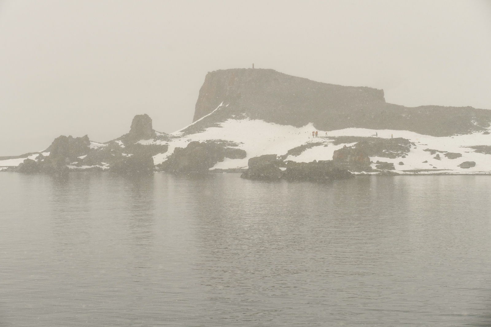A foggy morning on Half Moon Island in Antarctica.