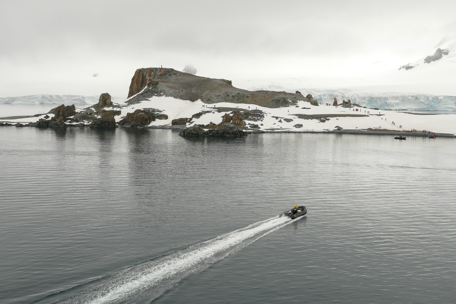 A Zodiac motors to Half Moon Island, one of the first landings on cruises in Antarctica.