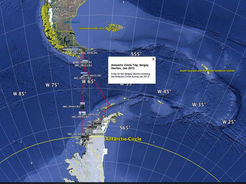 GPS track on Akademik Sergey Vavilov, below the Antarctic Circle Trip, Jan 2013.  Map Image from Google Earth