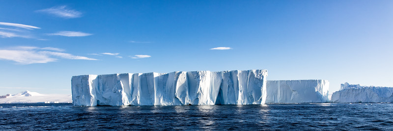 The Weddell sea is famous for its large tabular icebergs as in kilometers long