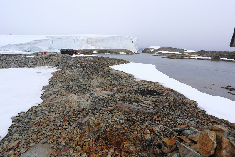 British Wordie House,Winter Island. 65˚15'S, 64˚16'W Located in the Argentine Islands.  Est 1935-Closed in 1954.A huge snow bank and channel we came through, in the background. 