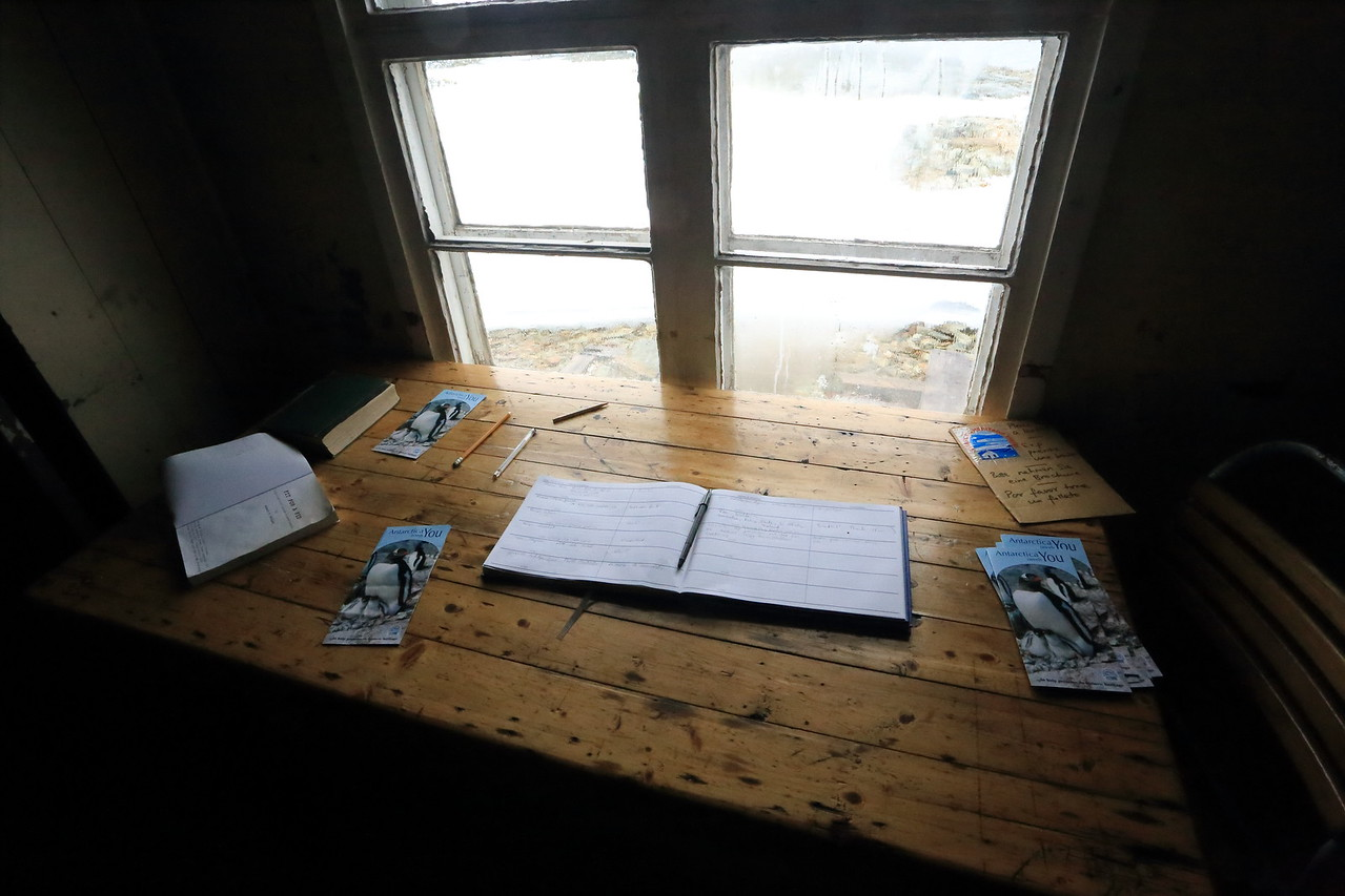 British Wordie House,Winter Island. 65˚15'S, 64˚16'W Located in the Argentine Islands.  Est 1935-Closed in 1954.   Visitor sign in book.
